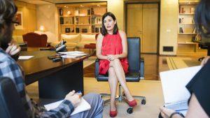 La ministra de Sanidad Carmen Monton, durante la entrevista