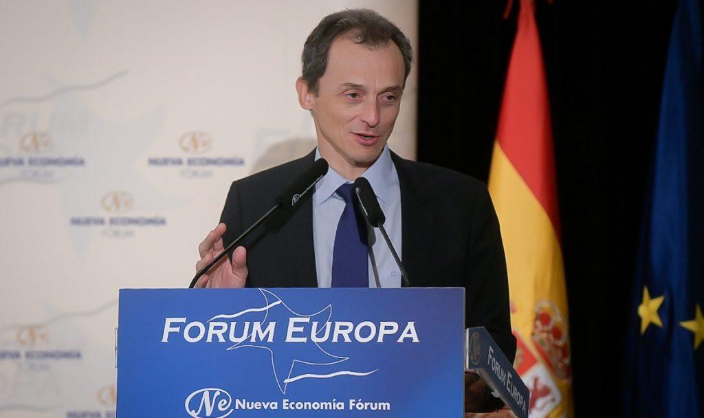 Pedro Duque, ministro de Ciencia, en el desayuno informativo de Nueva Economía Fórum