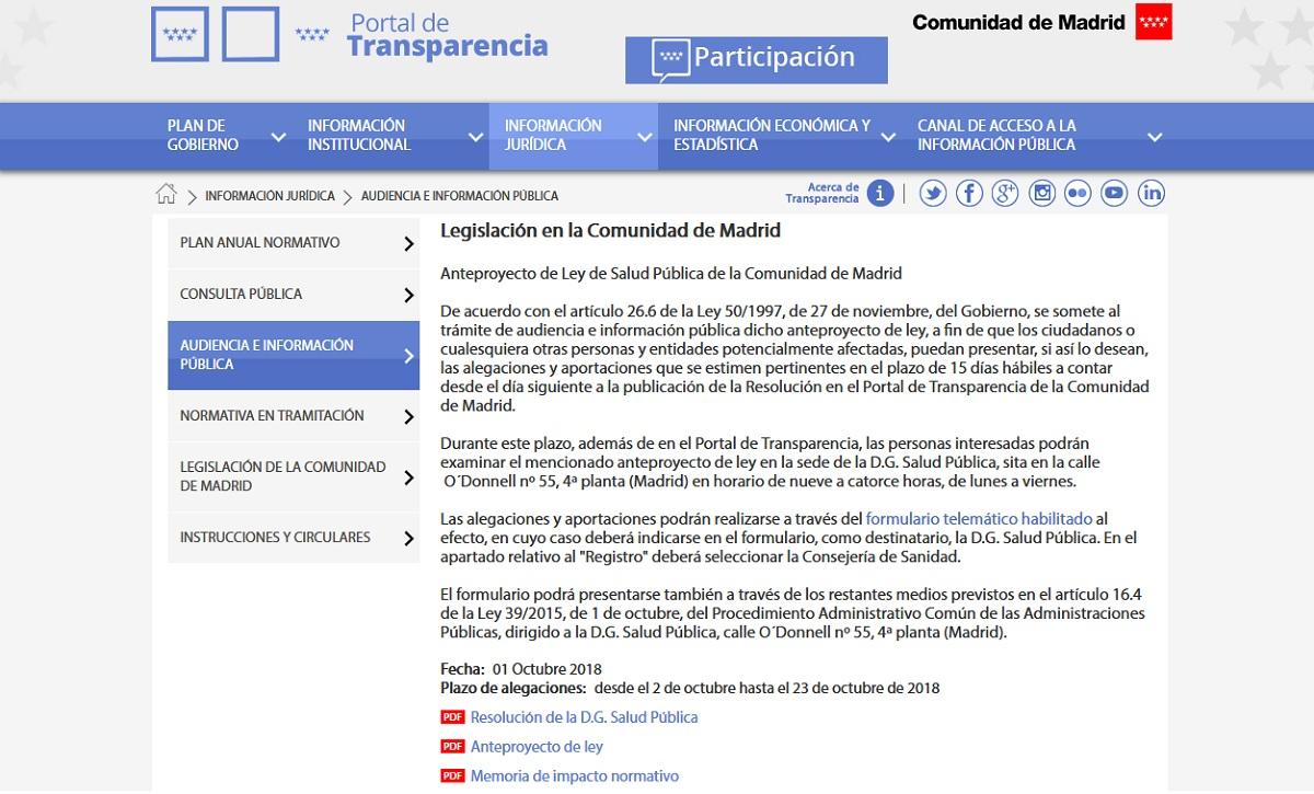 Portal de Transparencia de la Comunidad de Madrid. el Anteproyecto de Ley de Salud Pública, en consulta pública