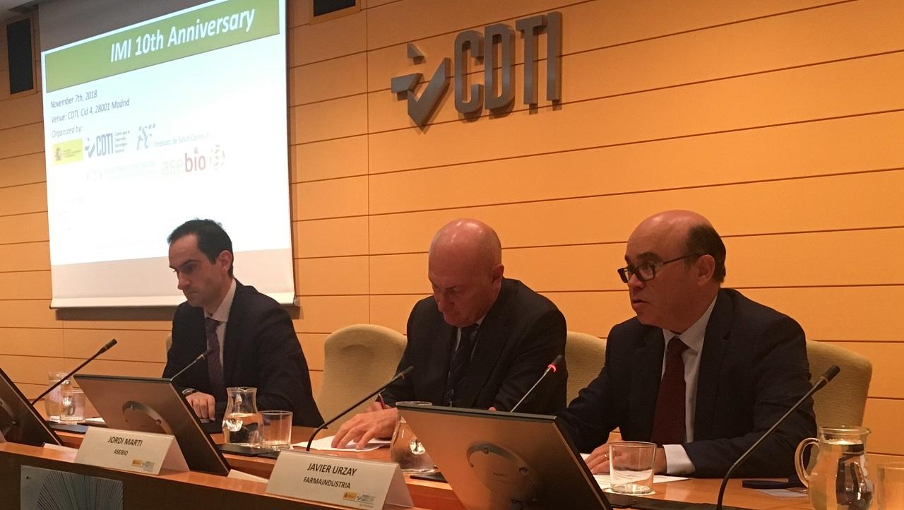 Jornada X Aniversario IMI: Juan Antonio Tébar (CDTI), Jordi Martí (Asebio) y Javier Urzay (Farmaindustria)