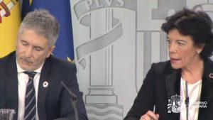 Fernando Grande-Marlaska e Isabel Celaá, tras el Consejo de Ministros.