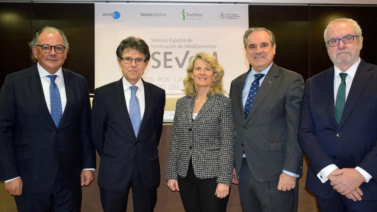 Ángel Luis Rodríguez de la Cuerda, Humberto Arnés, María Ángeles Figuerola, Jesús Aguilar y Eladio González Miñor, durante la comparecencia.