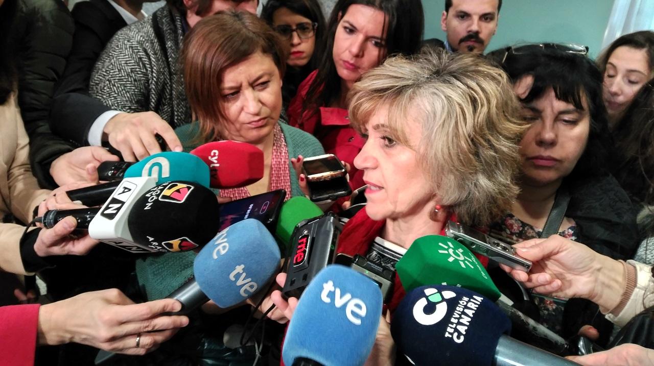 La ministra de Sanidad, María Luisa Carcedo, atiende a los medios este lunes antes de la reunión del Consejo Interterritorial.