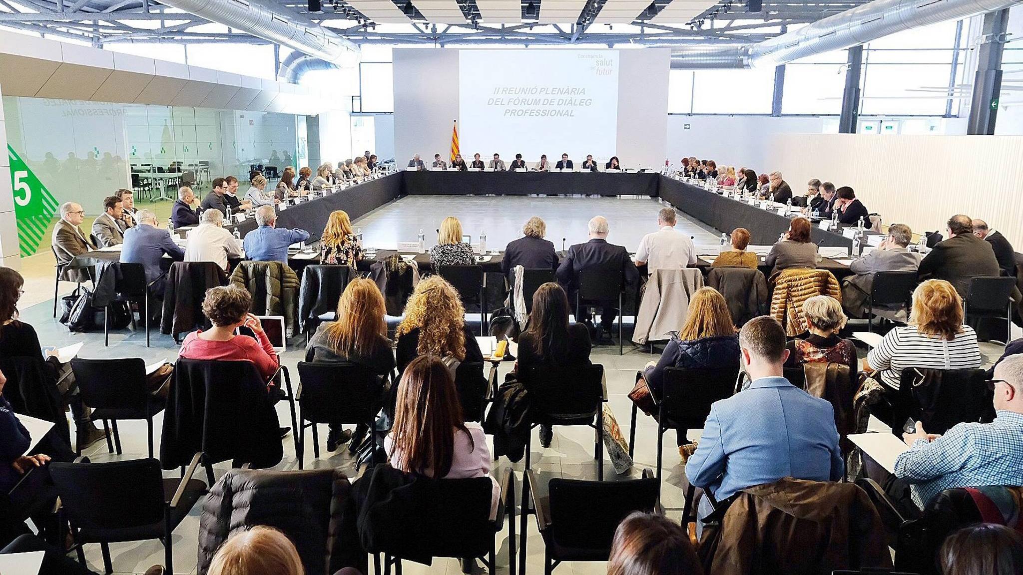 Segunda reunión del Foro de Diálogo profesional de Cataluña, este martes.