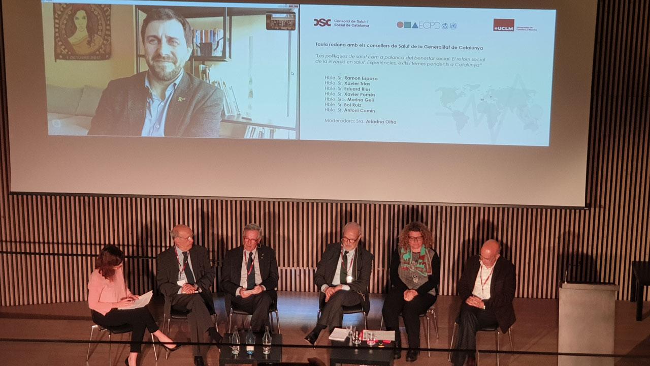 Ex consejeros catalanes de salud durante el I Foro de Salud y Bienestar Social organizado por el Consorcio de Salud y Social de Cataluña