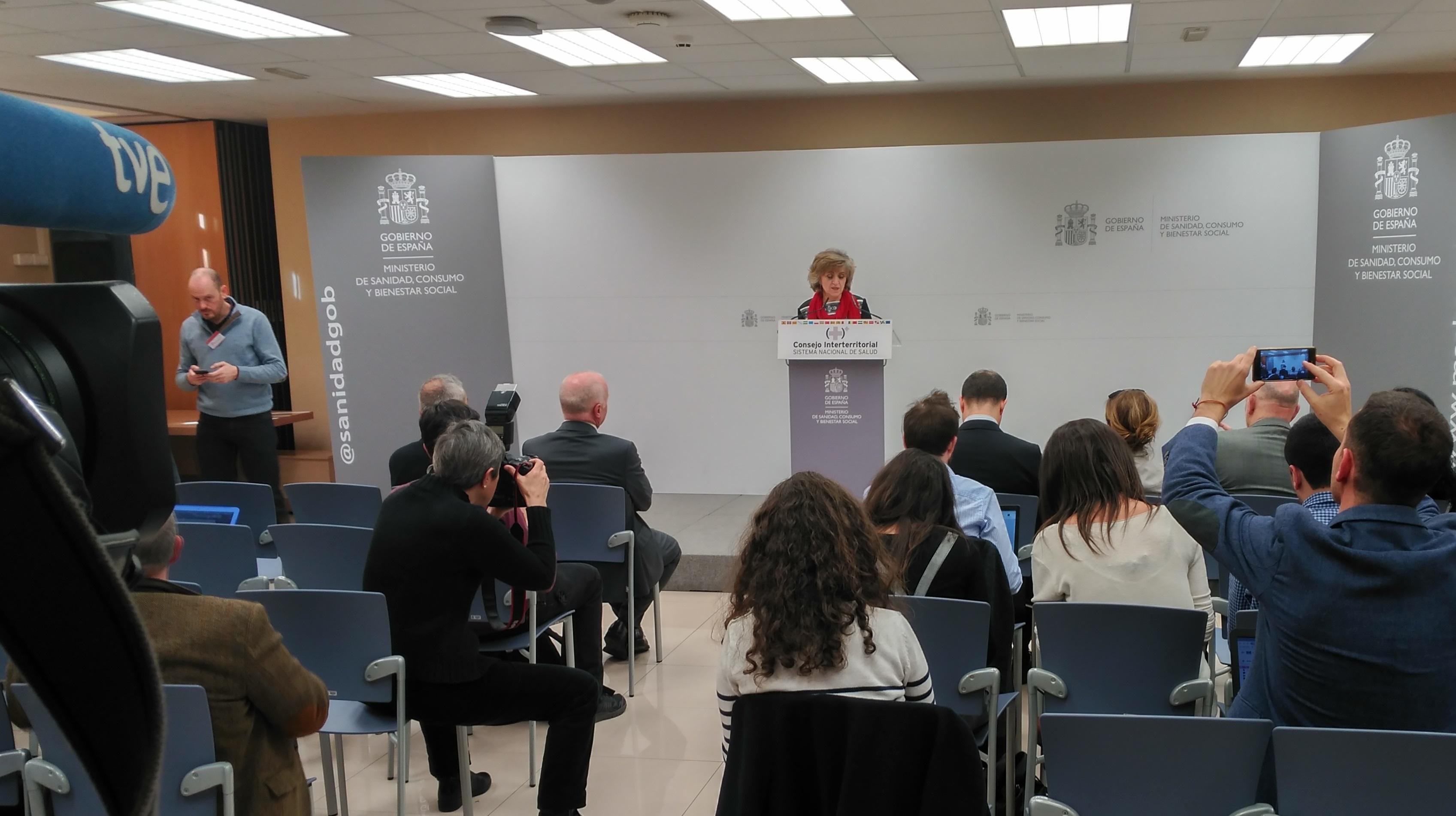 María Luisa Carcedo, ministra de Sanidad, este lunes por la tarde en la rueda de prensa posterior al Consejo Interterritorial