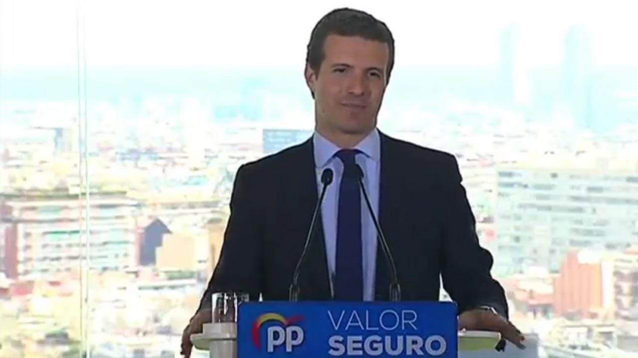 Pablo Casado, presidente del PP, en la presentación del programa electoral para las elecciones generales del 28 de abril, este lunes en Barcelona.