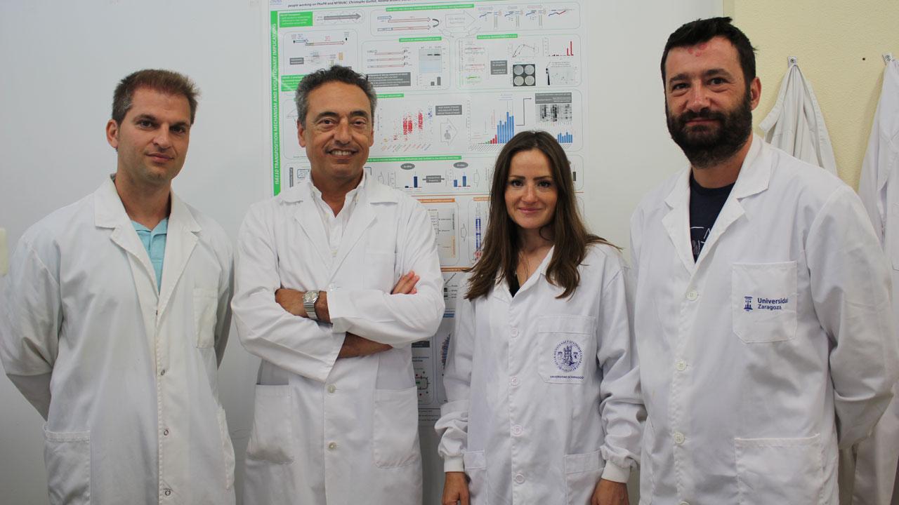 Carlos Martín, investigador principal del Proyecto Vacuna Tuberculosis de la Universidad de Zaragoza junto a sus compañeros Jesús Gonzalo, Nacho Aguiló y Dessislava Marinova