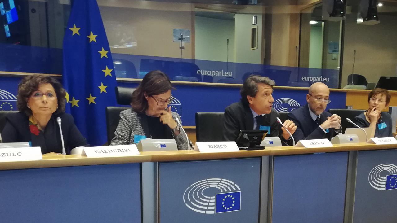 Celso Arango, durante su intervención en el Parlamento Europeo