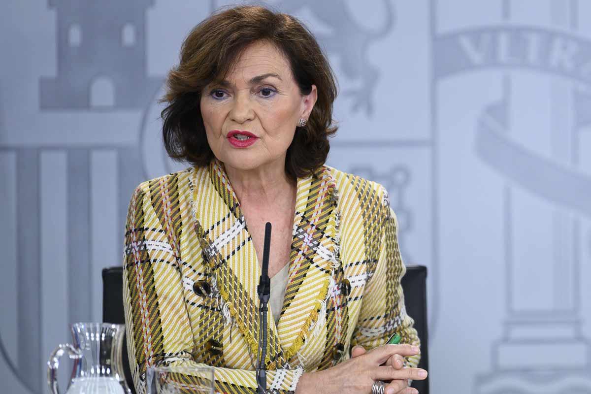 Carmen Calvo, vicepresidenta primera del Gobierno, durante la rueda de prensa posterior al Consejo de Ministros.