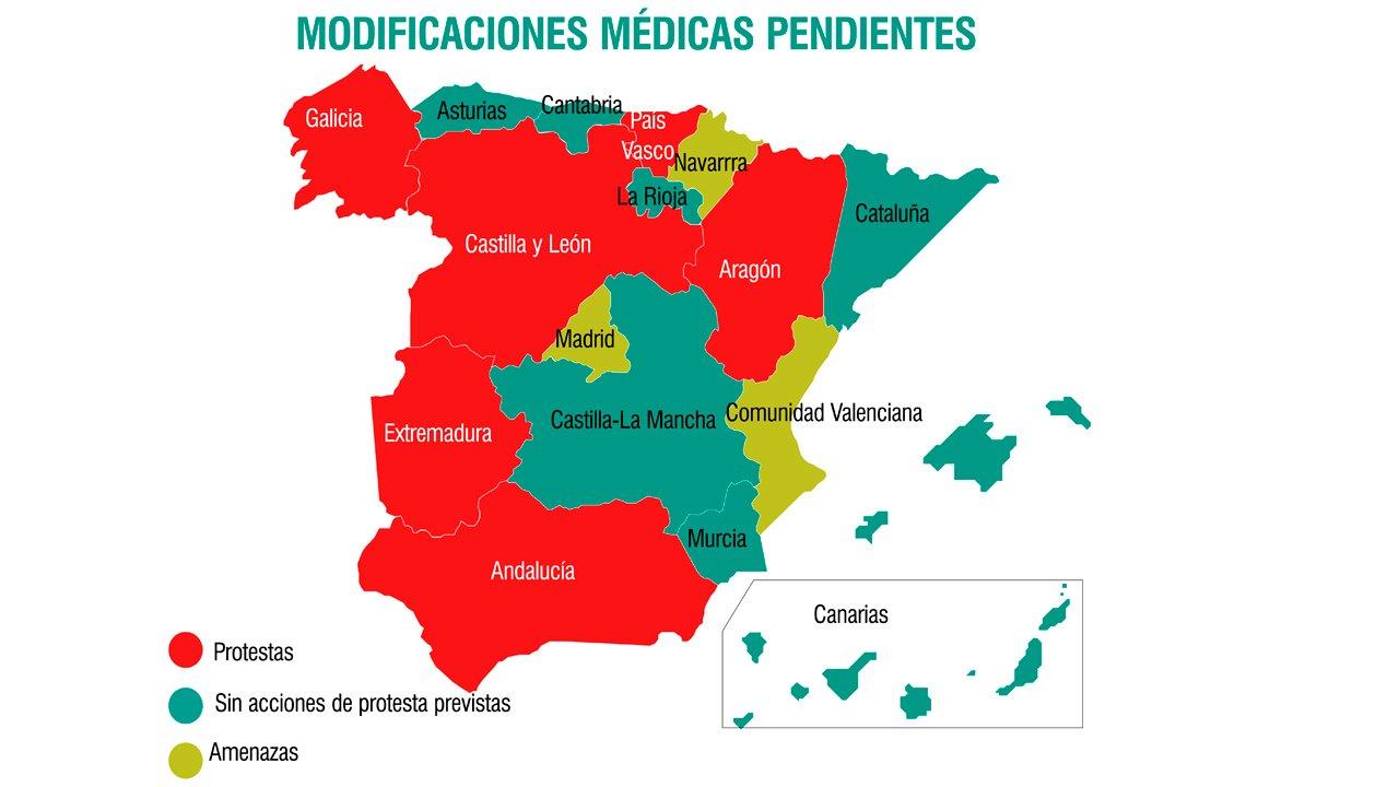 Mapa de movilizaciones médicas a finales de 2018.