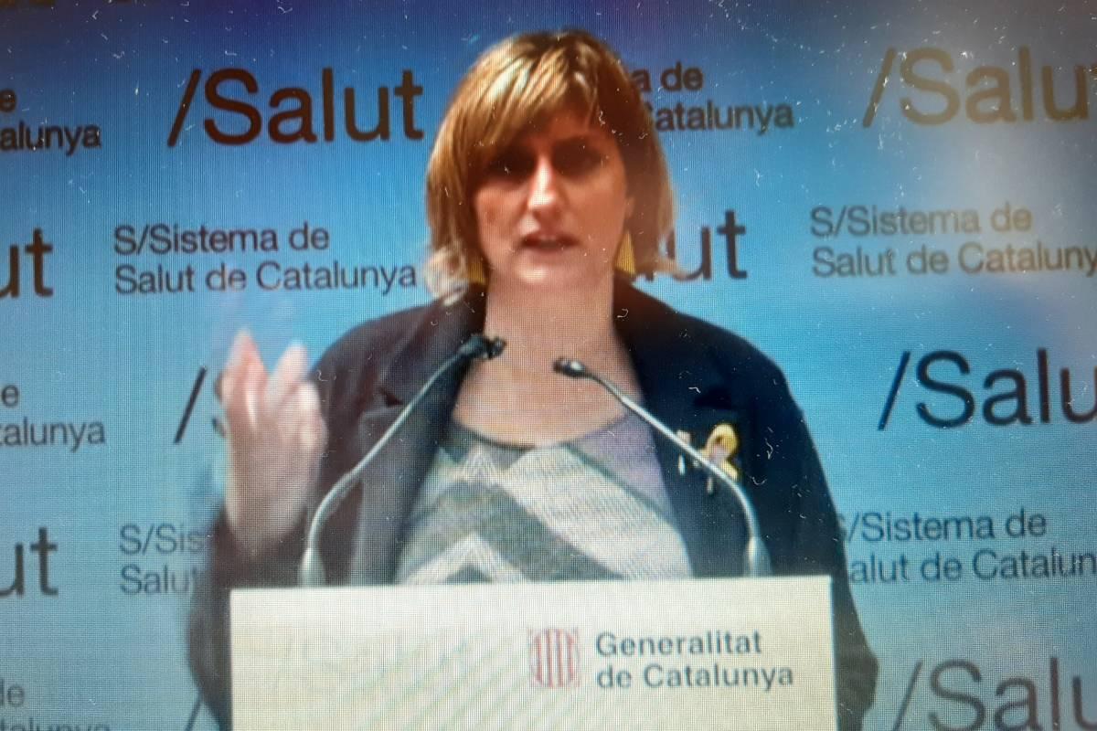 Alba Vergés en la rueda de prensa telemática