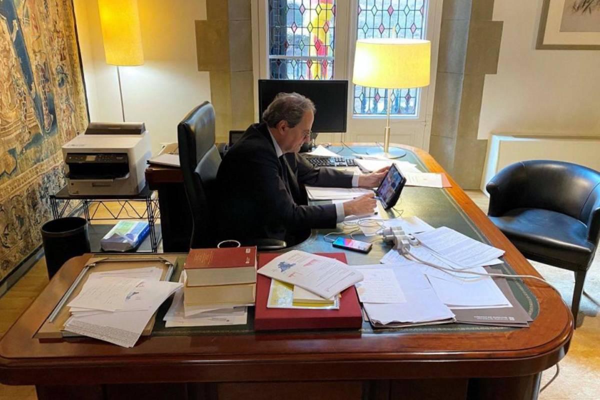 El presidente Quim Torra en su despacho.