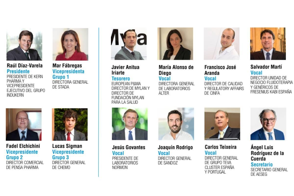 Junta directiva de la Asociación Española de Medicamentos Genéricos (Aeseg).