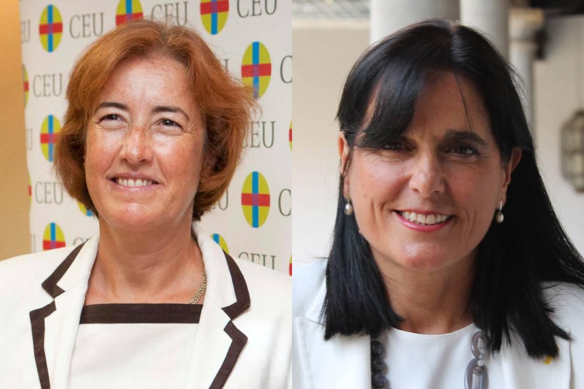 Beatriz de Pascual-Teresa y Ana del Moral, presidenta y vicepresidenta de la Conferencia Nacional de Decanos de Facultades de Farmacia y decanas en las universidades CEU San Pablo y Granada.