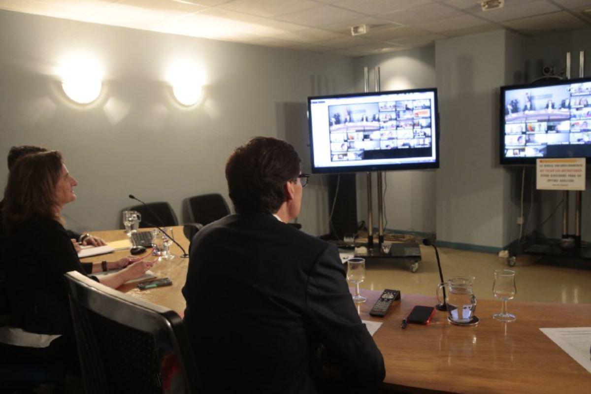 Teresa Ribera, vicepresidenta cuarta del Gobierno, y Salvador Illa, ministro de Sanidad, durante el Interterritorial en el que han participado las CCAA de forma telemática.
