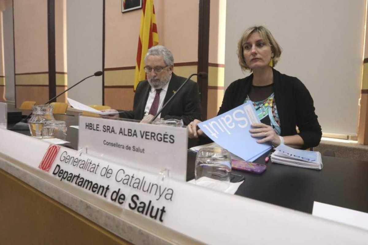Alba Verges con el secretario de Salud Publica, Joan Guix.