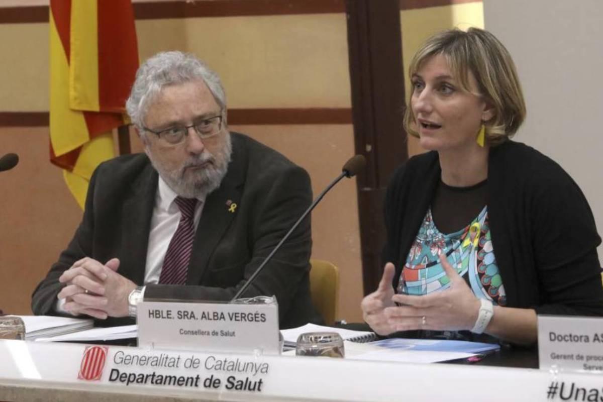 El secretario de Salud Pública, Joan Guix, y la consejera Alba Vergés.