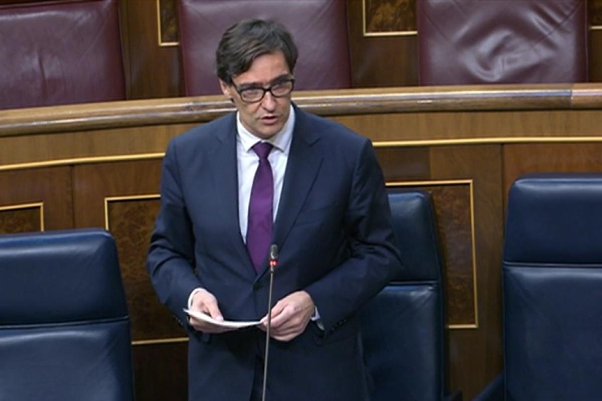 Salvador Illa, ministro de Sanidad, durante el pleno de control del Gobierno en el Congreso de los Diputados.
