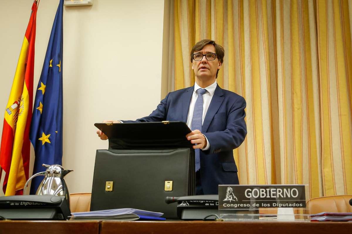 Salvador Illa, ministro de Sanidad, en una comparecencia ante la Comisión de Sanidad del Congreso de los Diputados.