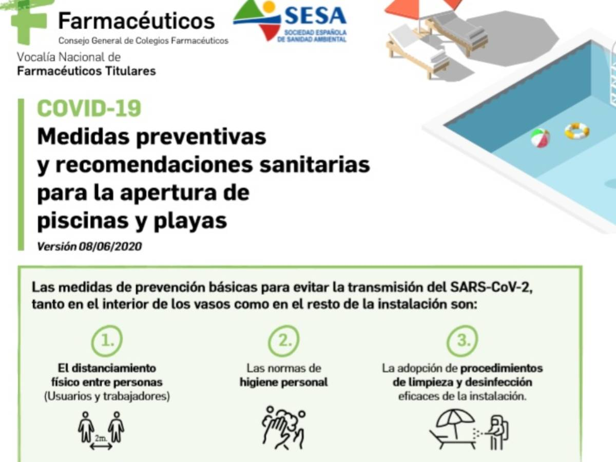 Recomendaciones del Consejo General de COF sobre piscinas y playas.
