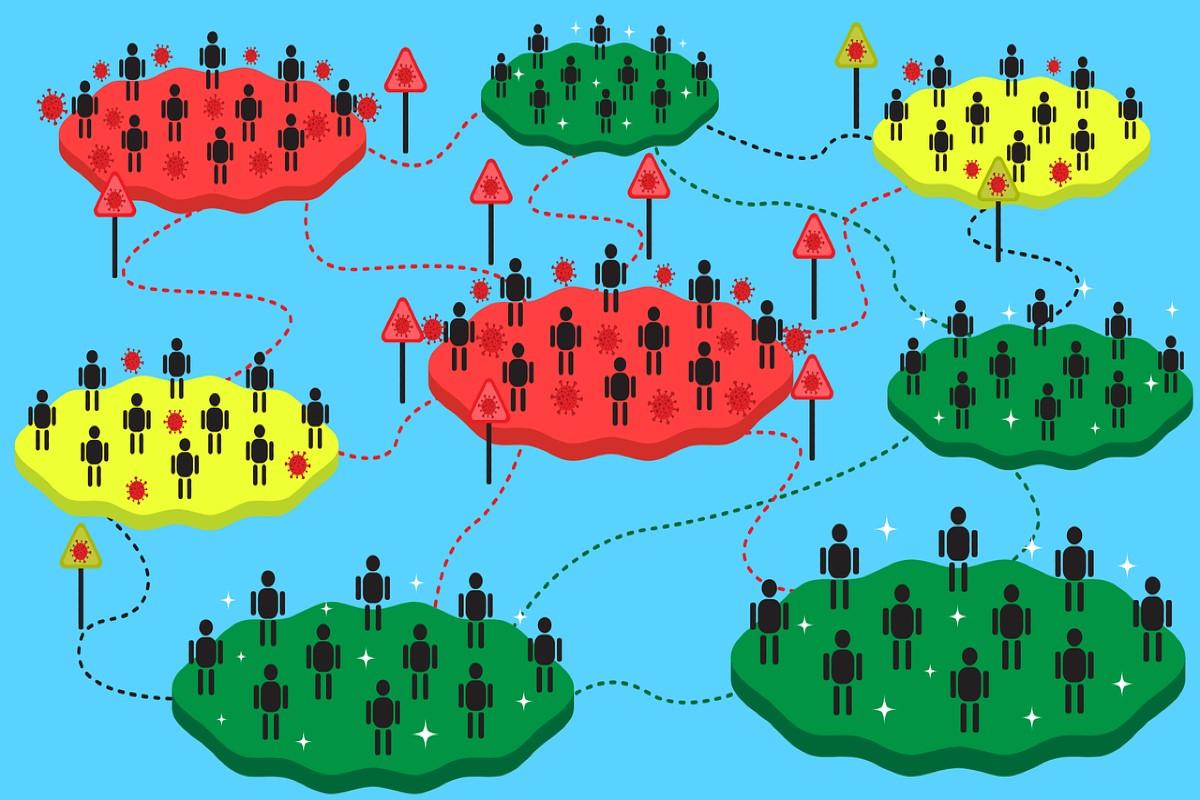 Grupos de personas y redes de transmisión vírica.