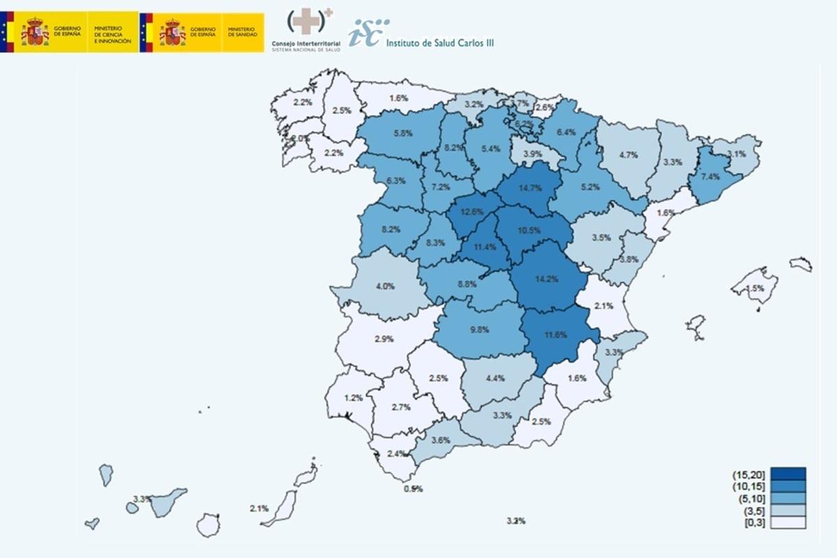 Mapa por provincias de la segunda oleada del estudio de seroprevalencia del coronavirus