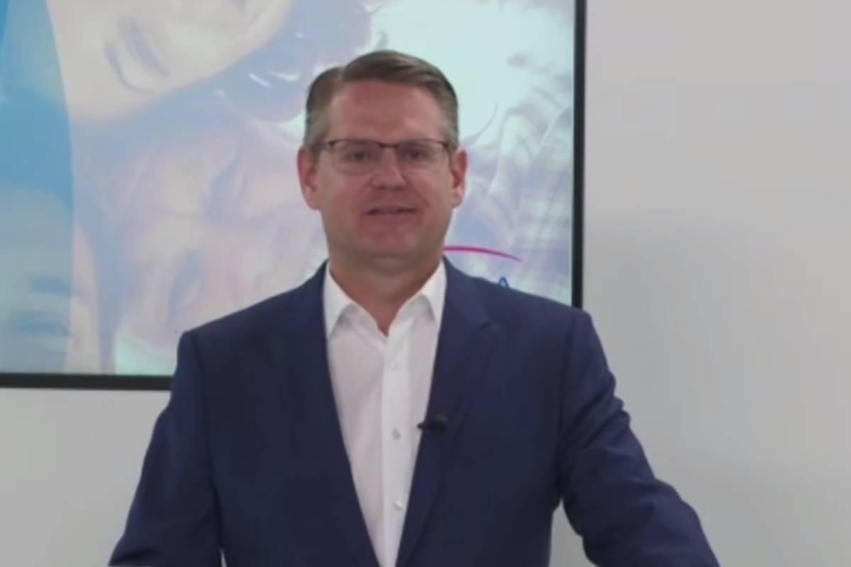 Peter Goldschmidt, CEO de Stada, en la rueda de prensa virtual donde se ha presentado el informe de 2020.