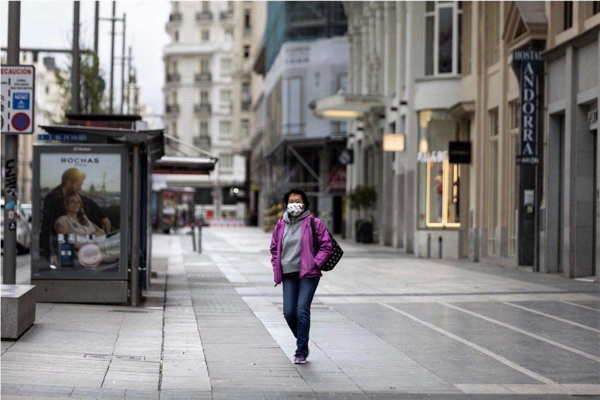 Aspecto de la Gran Vía madrileña en los primeros días del estado de alarma (Foto: El Mundo)