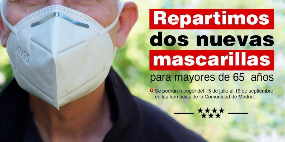 Cartel de la Comunidad de Madrid anunciando esta nueva entrega de mascarillas.