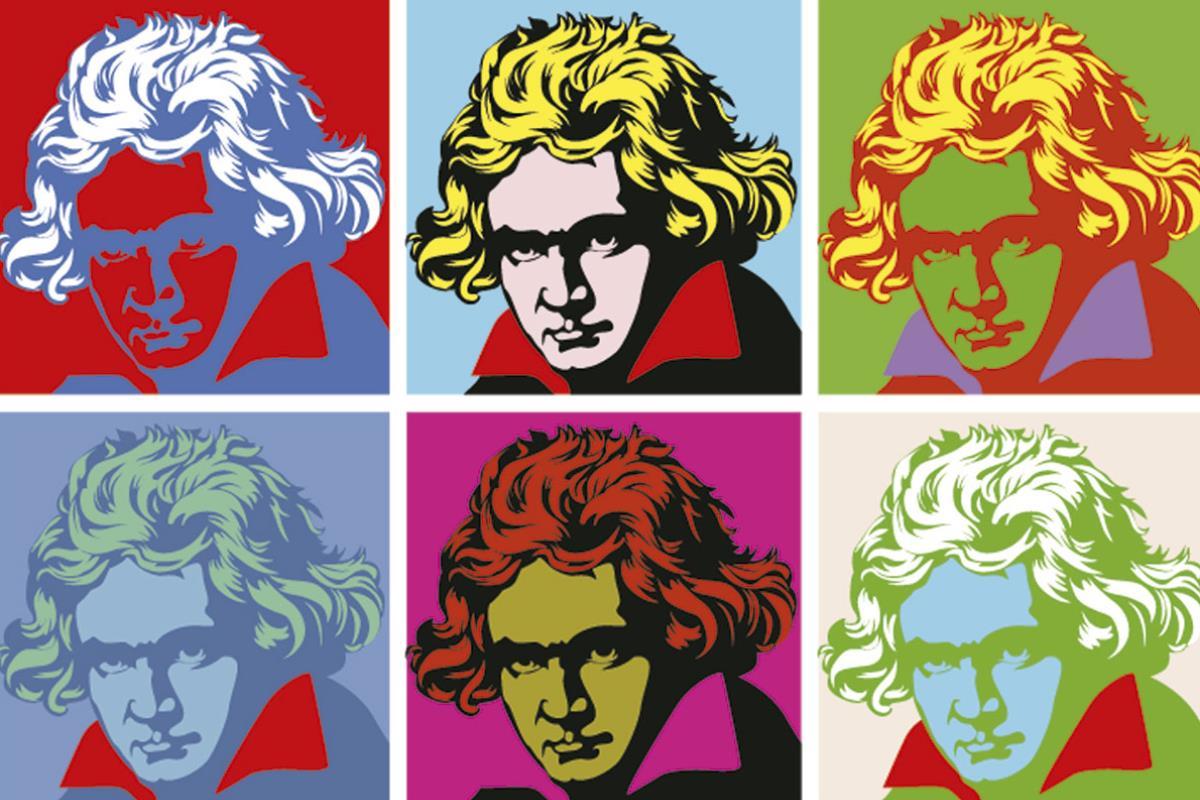 Dibujo del músico Ludwig van Beethoven.