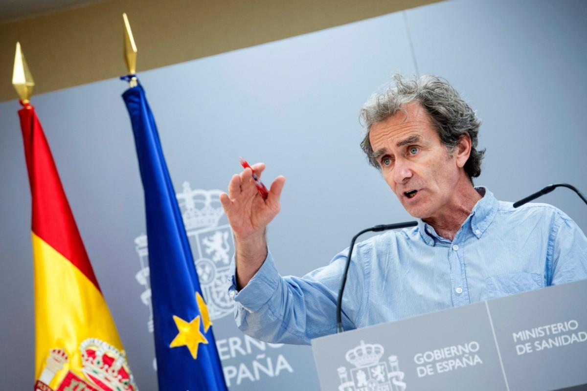 El director del Centro de Emergencias y Alertas Sanitarias, Fernando Simón, durante la rueda de prensa ofrecida este jueves en Madrid para hablar de los últimos datos de la evolución de la pandemia del coronavirus
