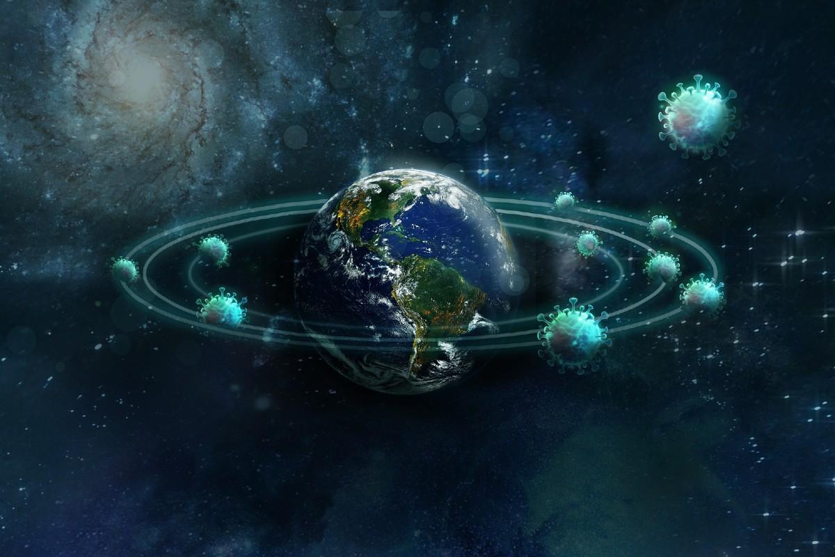 Coronavirus girando alrededor de la Tierra.