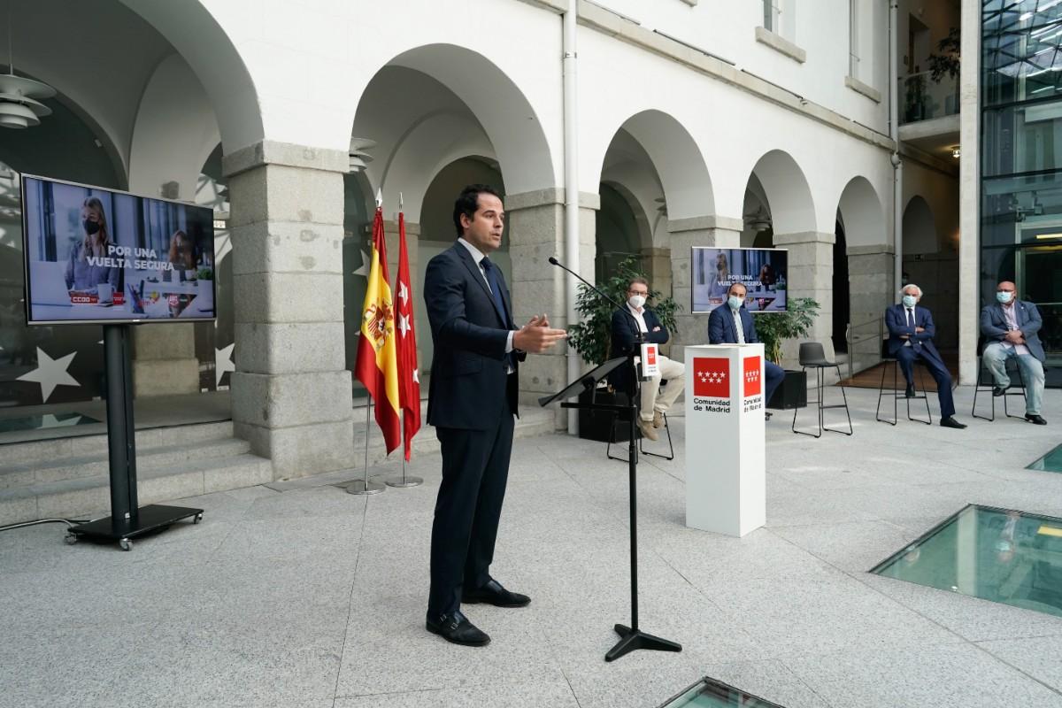 Ignacio Aguado, vicepresidente de Madrid, presenta el protocolo de vuelta al trabajo con seguridad.