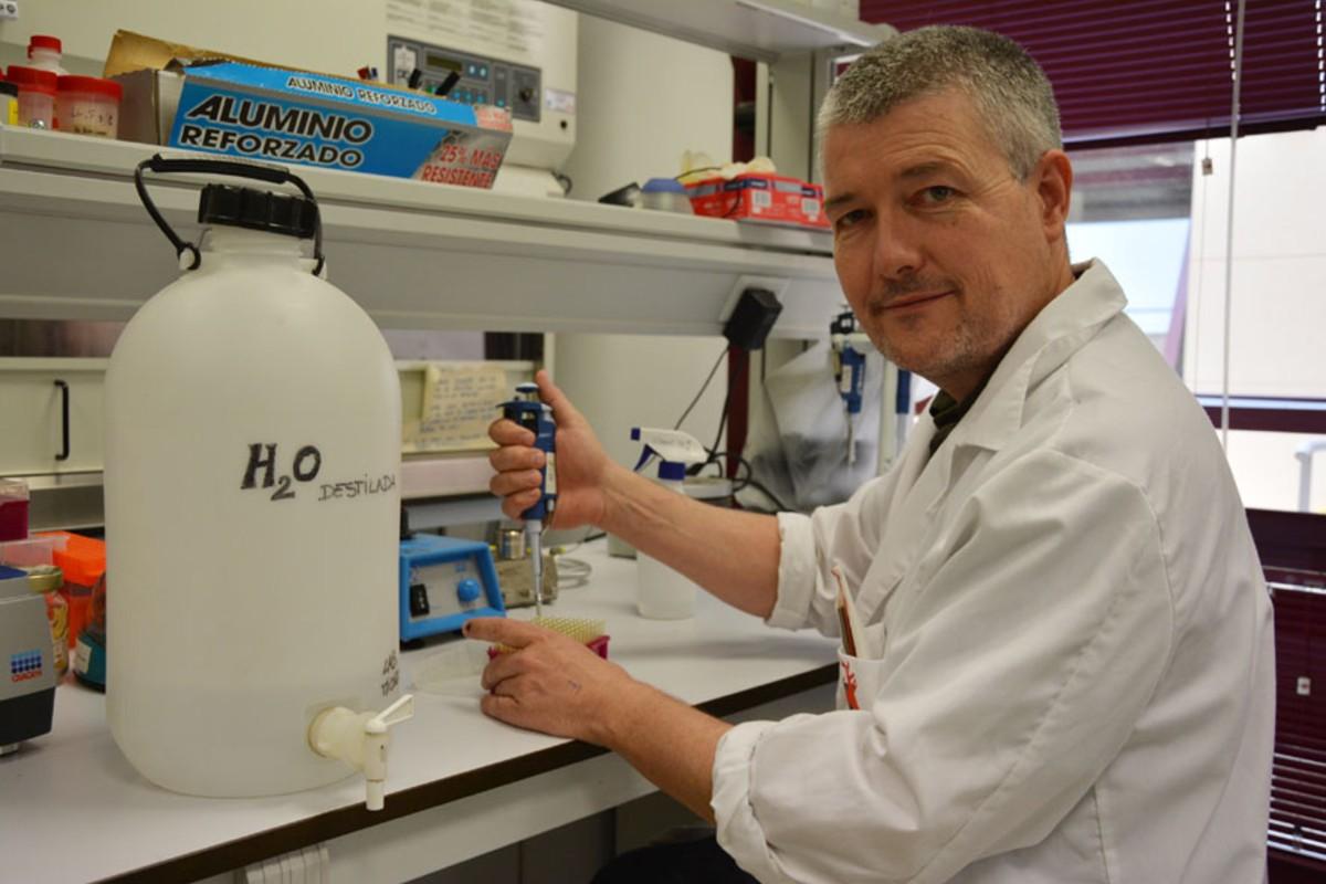 Christian Gortázar, en su laboratorio.
