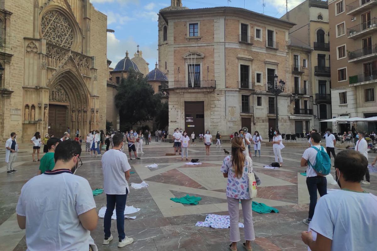 Aspecto de una de las concentraciones de protesta convocada por los MIR en la Comunidad Valenciana.