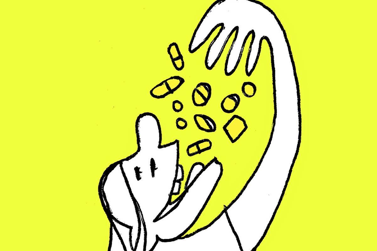 ilustración de automedicación
