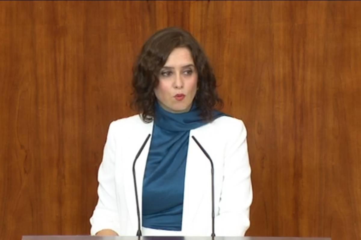 Isabel Díaz Ayuso, presidenta de la Comunidad de Madrid, en el Pleno de la Asamblea.