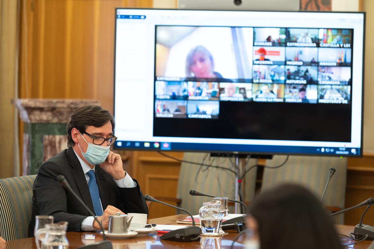 El ministro Salvador Illa durante un Consejo Interterritorial de Salud virtual.