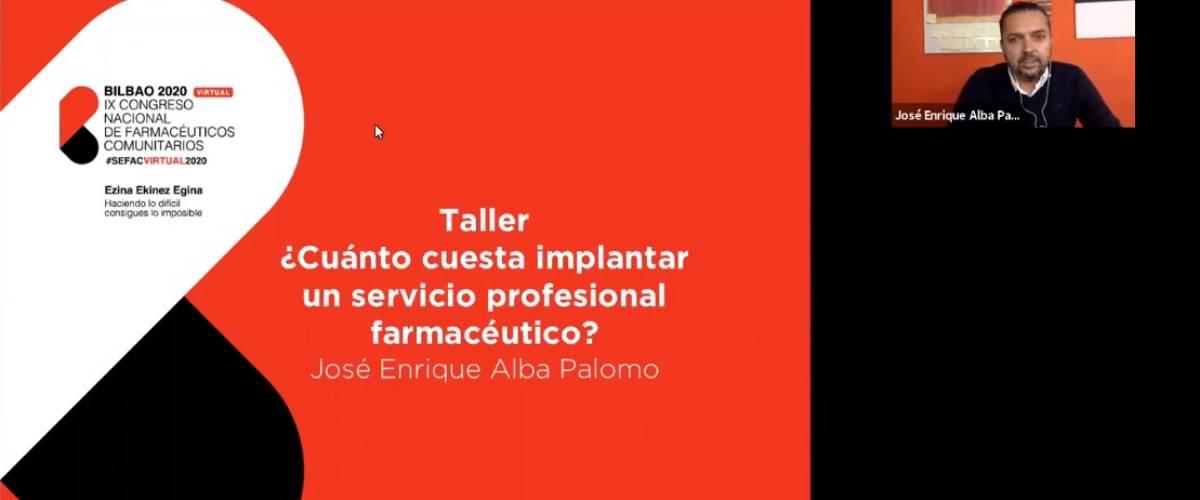 José Enrique Alba Palomo, farmacéutico comunitario en Málaga, impartiendo un taller sobre servicios profesionales en el IX Congreso de Sefac.