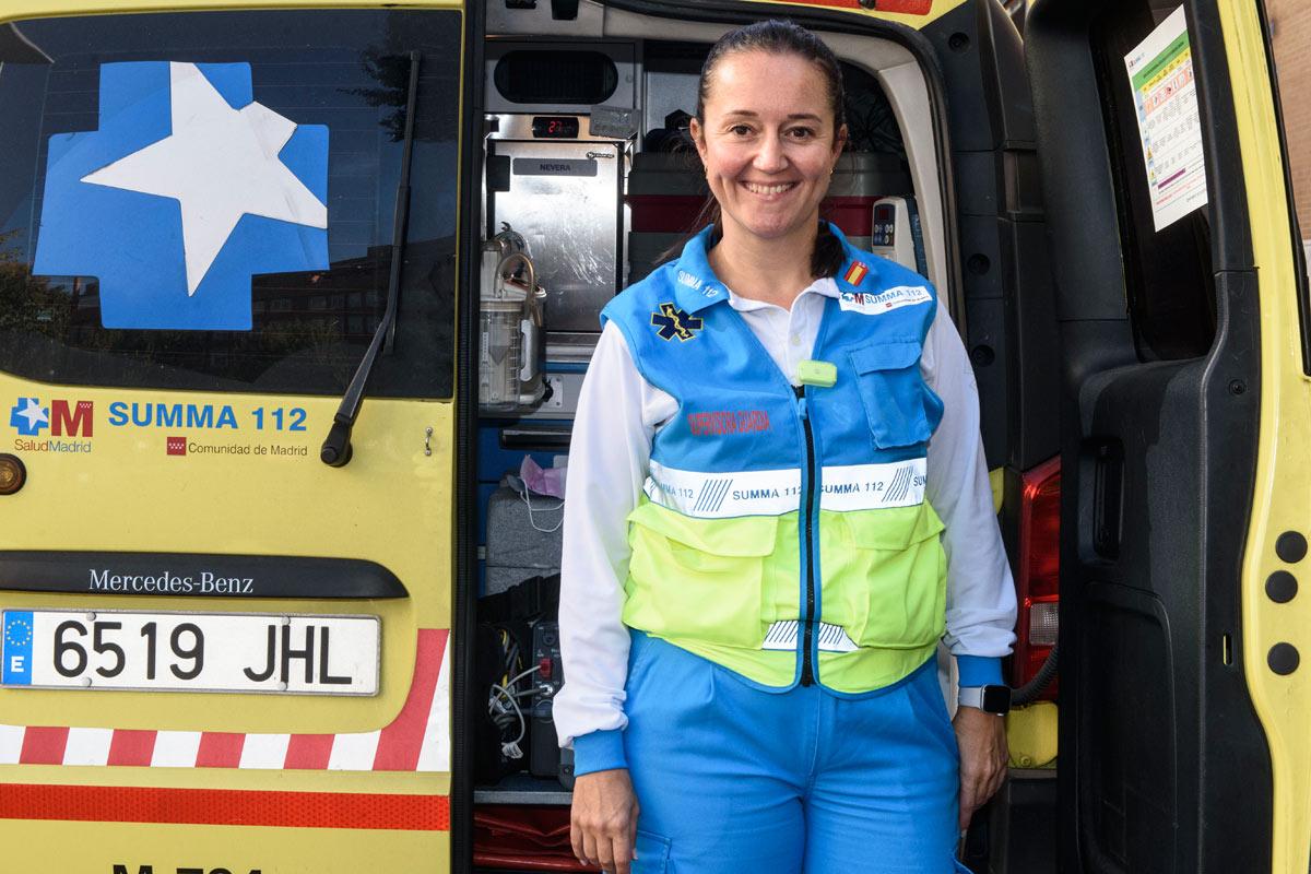 Verónica Real es supervisora de Enfermer�a en el Servicio de Urgencias Extrahospitalarias de la Comunidad de Madrid Summa 112 y ha sido directora de Enfermer�a en el Hospital Covid-19 Ifema. FOTO: Luis Camacho.
