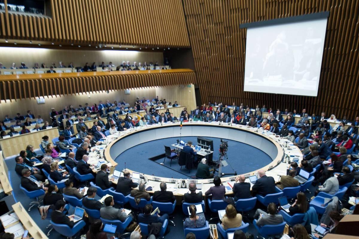 Asamblea Mundial de la Salud de la OMS, reunida en Ginebra (Suiza).
