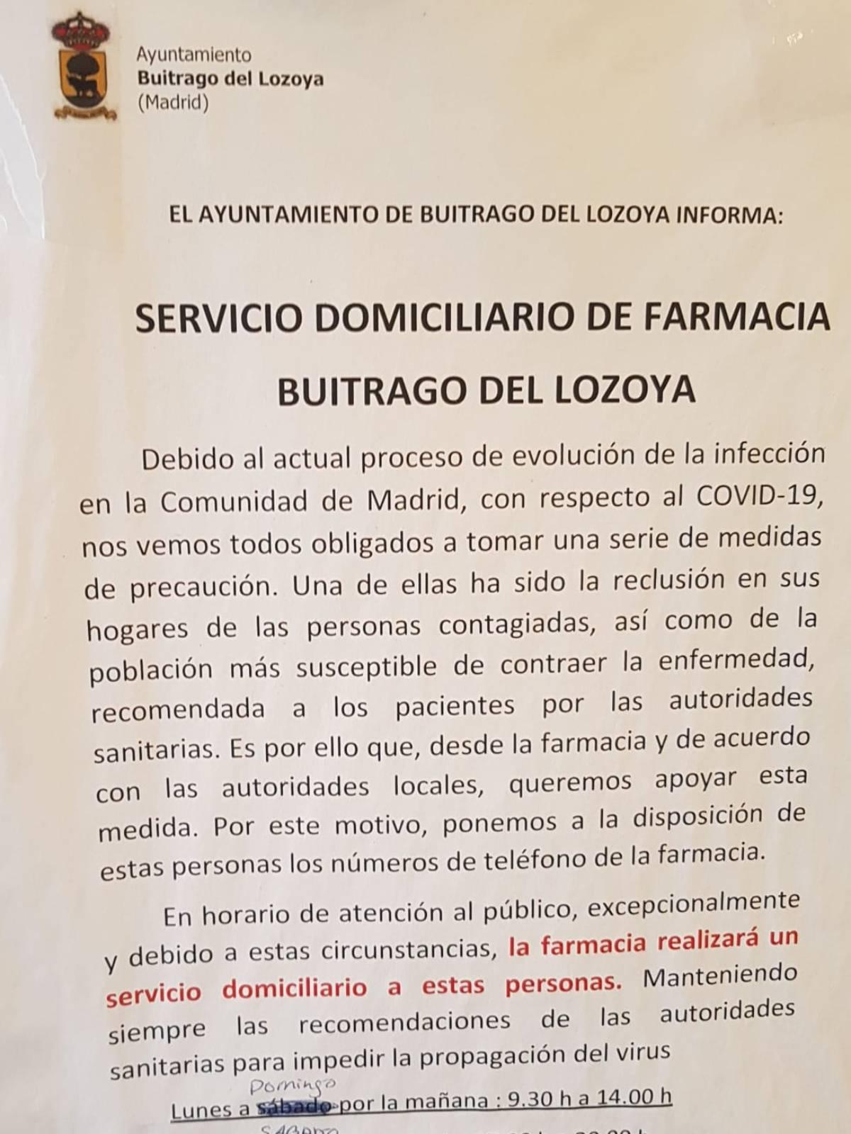 Bando de Buitrago de Lozoya donde la farmacéutica Raquel Casado ofrec�a su servicio domiciliario de medicamentos.