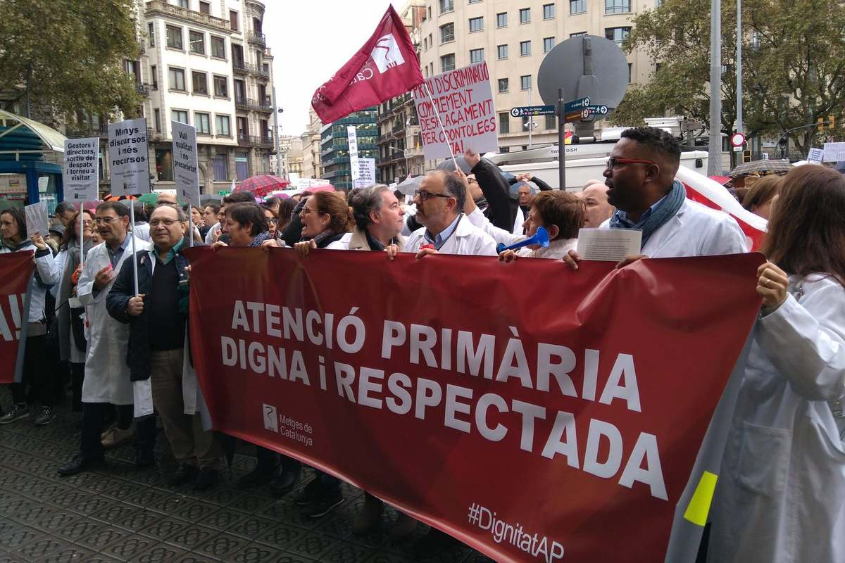 Manifestación del primer día de la huelga en atención primaria del ICS en 2018 (Metges de Catalunya)
