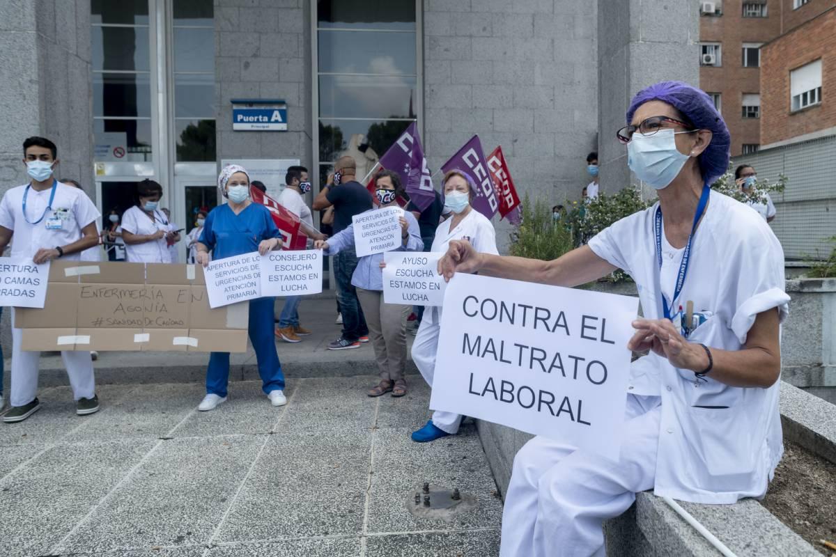 Movilizaciones en un hospital de Madrid en septiembre de 2020, durante la segunda ola de la pandemia de coronavirus (José Luis Pindado)