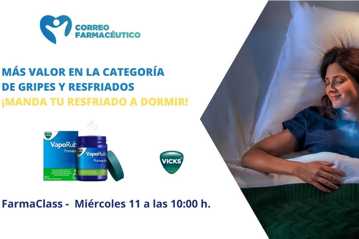Cartel informativo de la Farma Class sobre gripe y resfriado que se celebrará el 11 de noviembre a las 10:00 horas.