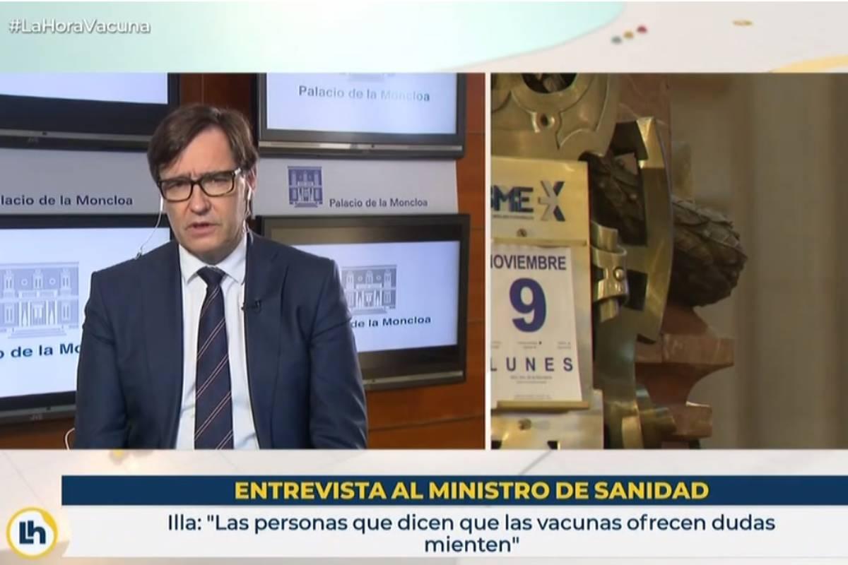 Salvador Illa, ministro de Sanidad, en una entrevista en 'La Hora de la 1' de TVE.