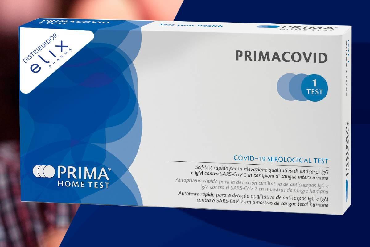 'Primacovid', de Elix Pharma, se anuncia como el primer test de autodiagnóstico covid aprobado en la UE y que en próximos semanas estará en las farmacias.