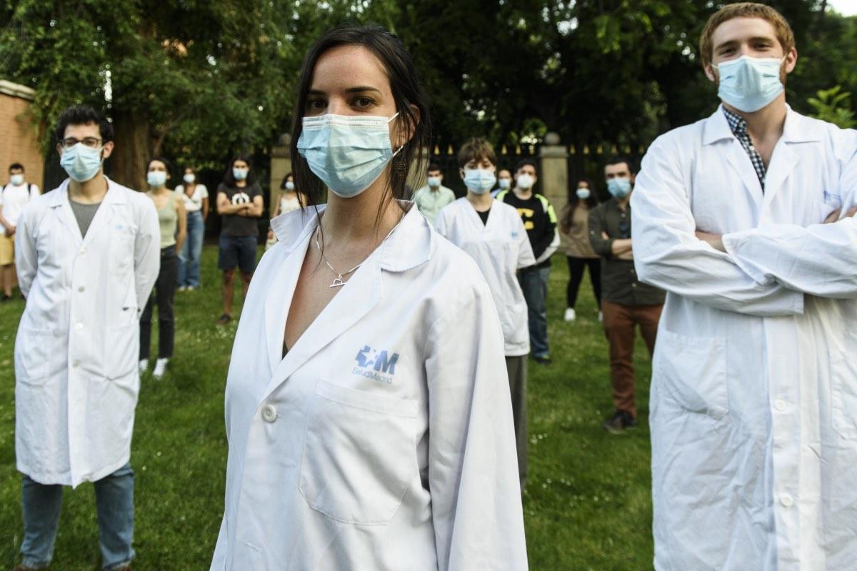 Representantes del Comité de Huelga MIR de la Comunidad de Madrid, el pasado julio, en pleno desarrollo de la huelga (FOTO: Luis Camacho).