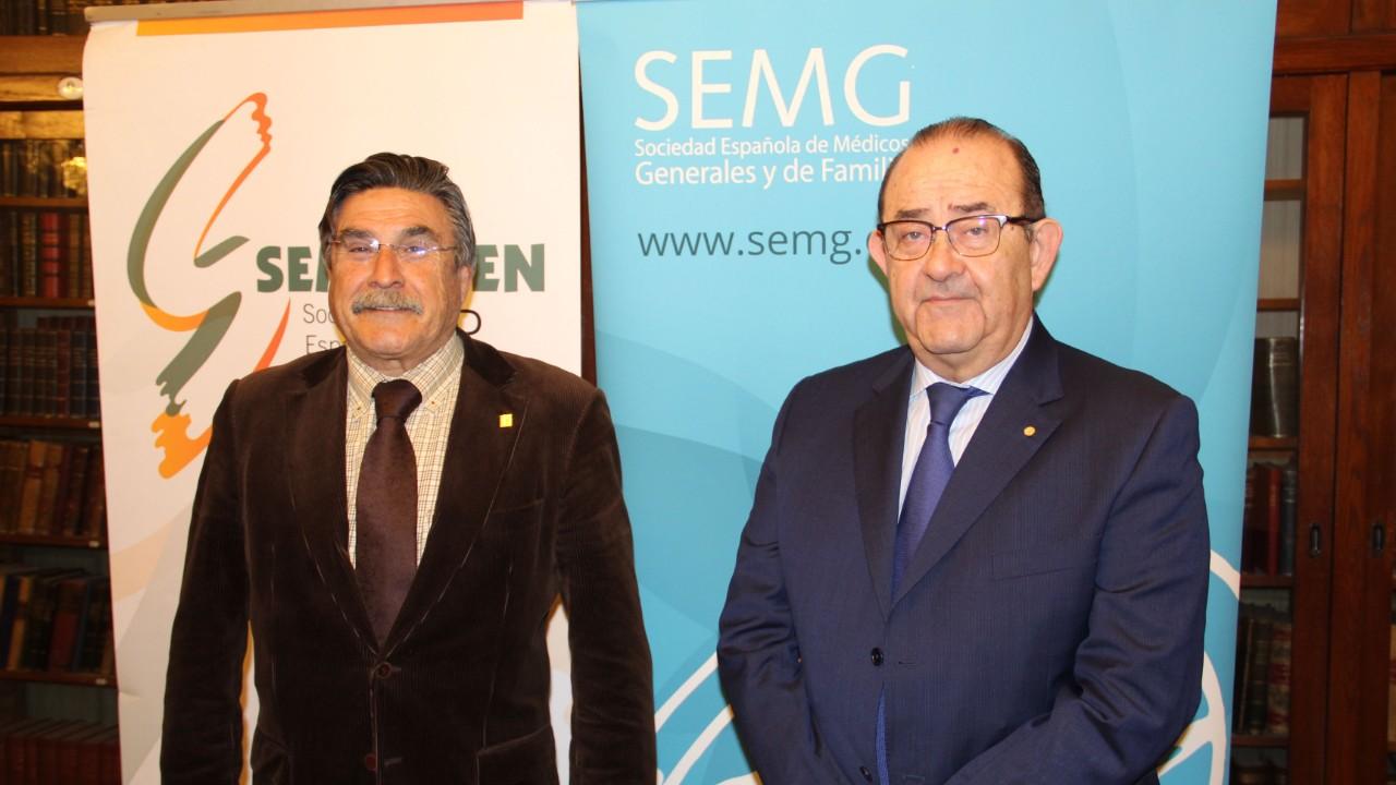 José Luis Llisterri, presidente de Semergen, y Antonio Fernández-Pro, presidente de la SEMG, antes de exponer su situación de desencuentro con la Semfyc.